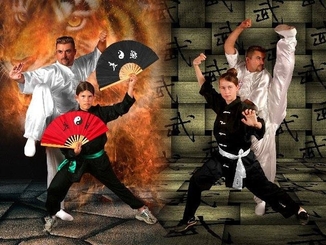 Grand kung fu master Velazquez in California with students